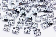 Square Shiny Button Crystal For Blouse Shirt Decoration Two Holes 12mm 20pcs