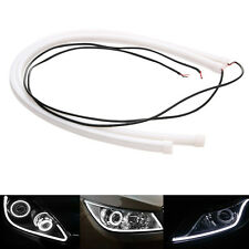2 x 60CM Soft Tube LED White Amber Car DRL Daytime Run Lamp Flexible Strip Light