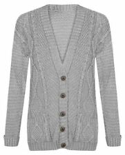 ST54 Women Long Sleeve 5 Button Top Chunky Aran Cable Knit Grandad Cardigan 8-22