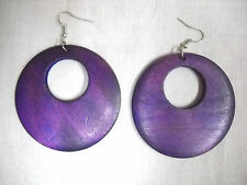 NEW XL DEEP PURPLE COLOR STAINED REAL WOOD DANGLING ROUND FLAT HOOP EARRINGS