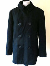 Heavy Navy Blue Wool Pea Coat Winter Jacket Size 40R