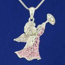 "W Swarovski Crystal Angel Of God Guardian Cupid Trumpet Pink Pendant 18"" Chain L"