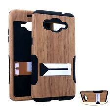 Samsung Galaxy Grand Prime G530 - HARD&SOFT RUBBER HYBRID SKIN CASE BROWN WOOD