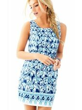 Lilly Pulitzer Get Trunky Cathy Shift Dress Bomber Blue Elephant SZ 10 MSRP$188