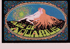 "Blacklight Neon Age of Aquarius Poster Psychedelic Hippie 1960s Re Print 14"" x 9"