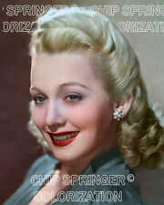 CAROLE LANDIS & GREAT SMILE #1 8X10 BEAUTIFUL COLOR PHOTO BY CHIP SPRINGER