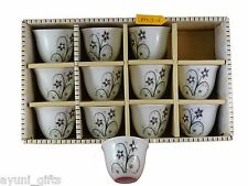 Porcelain Arabic Turkish Coffee Cups Set of 12 Gawa Black Flowers with Crystals