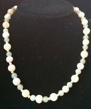 Freshwater Pearl, Yellow Jade, Green Jade and Sterling Silver Necklace 19in