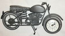 """Metal Collectable 12"""" Motorcycle Figurine with Clock in Front Wheel"""
