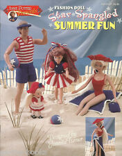 Star Spangled Summer Fun Crochet Barbie Fashion Doll Dress Clothing Patterns NEW