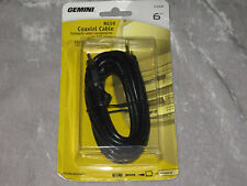 6 ft. Gemini Coaxial Cable VCR Cable RCA Plugs TV DVD Video RG59 NEW!