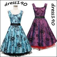 dress190 SLEEVELESS 50s FLORAL FLOCK TATTOO ROCKABILLY PROM PARTY COCKTAIL DRESS
