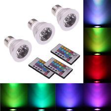 3Pcs E27 3W 16 Color Magic RGB LED Bulb Spot Light Remote Control Energy Saving