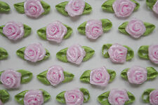 100! Satin Ribbon Roses With Leaves - Gorgeous Pastel Pink Rose Embellishments!