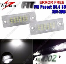 2pcs White LED License Number Plate Lights For VW Passat Sedan B5.5 3B 2001-2005