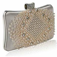 CLUTCH hand BAG diamante WEDDING crystal hard case evening 206 champagne pearl