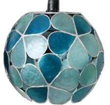 Duck Egg Teal Blue CAPIZ Shell Floral Globe Ceiling Pendant Shade RETRO NEW