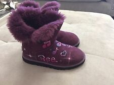 Ugg Australia Girls Bailey Button Purple Suede Boots Size 3 Or 33 Painted Design