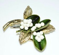 Vintage Gold Tone Green White Enamel Snowberry Flower Pin Brooch