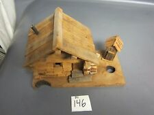Decorative Hand Made Miniature Log Cabin Home Folk Art House with Outhouse