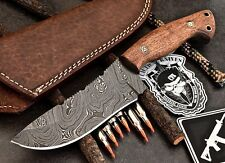 CFK USA Custom Handmade Twist Damascus Large Hunting Camping Rosewood Knife