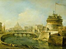 FRANCESCO GUARDI ITALIAN FANCIFUL VIEW CASTEL SANT ANGELO ROME ART PRINT BB5335A