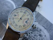 WW2 40s rare Naval Military chronograph watch centre set unsigned fully serviced