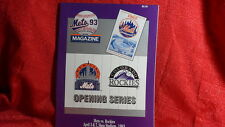 New York Mets Vs Colorado Rockies 1993 Inaugural Series Game Program MLB