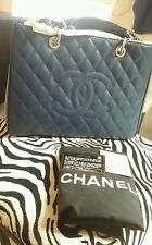 Authentic CHANEL Navy Blue CAVIAR Leather GRAND SHOPPING TOTE (GST) Silver HW