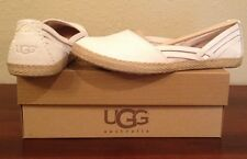 NIB UGG Australia Cicily BEIGE Brown Leather Flats Shoes Womens 9.5   9 1/2 M