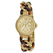 NWT MICHAEL KORS MK4290 GOLD MINI CAMILLE TORTOISE CHAIN GLITZ WATCH With Box