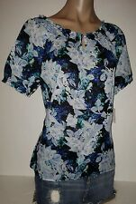 CROFT & BARROW PEASANT FLOWER BLUE LOOSE PETITE MEDIUM MED WOMENS TOP SHIRT NEE