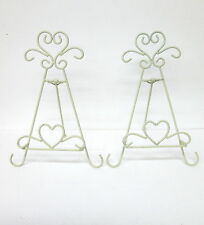 "Plate Picture Display Stand Holder Easel- 2 Ornate 10""  Wire Heart Stands -Ivory"