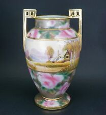 """Noritake Nippon Hand Painted Roses Scenic Porcelain 12 3/4"""" Tall Vase"""