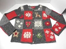 "Womens Size S Northern Isles Wool Blend ""ugly"" Christmas Cardigan Sweater"