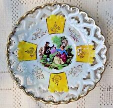 VINTAGE FAN CREST FINE CHINA HAND PAINTED LUSTERWARE PLATE - LIMOGES-LIKE SCENE