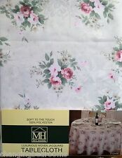 VINTAGE ELEGANCE ROSE FLORAL SOFT TOUCH 52x52 INCH SQUARE TABLECLOTH