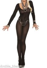 "Crossdress for Men Black Full Length Sheer Crotchless Bodystocking  30"" - 36"""