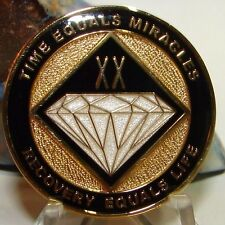Narcotics Anonymous AA NA  BLACK 20 Year Medallion Coin Token Chip Sobriety