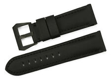 24mm Genuine Fabric Leather Watch Band Black Pre-V Tang Buckle Strap For Panerai