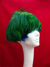 Vintage Green Feather Hat 4 Types of Feathers Ballet Couture Cobalt Blue Accent