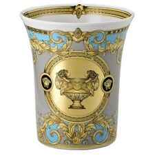 VERSACE PRESTIGE GALA FLOWER POT VASE GREEK KEY BLEU BLUE NEW RETAIL $400
