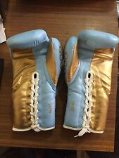SKY BLUE AND GOLD LEATHER BOXING GLOVES 8 To 18/oz All Big Brands (not Winning)