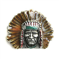 Indian Chief Head Metal Belt Buckle Native American Southwestern Cowboy Leather