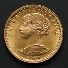 Piece or Chili 20 pesos 1964 gold coin Chile