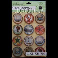 K & COMPANY Tim Coffey Travel Rondel Clearly Yours EPOXY STICKERS Crabs Lobster