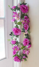 High Quality Artificial Fuchsia Rose Lily Flower Vines Hanging Wall Decor