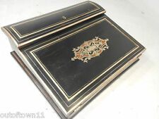 Antique French Brass inlaid  Writing Slope Box , Lap Desk Boulle Type   ref 2384
