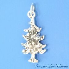 FIR TREE DECORATED WITH CHRISTMAS ORNAMENTS 3D .925 Solid Sterling Silver Charm