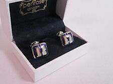 Penrose London Designer Cufflinks Silver Royal Blue Cream Enamel RRP £135 #CL31